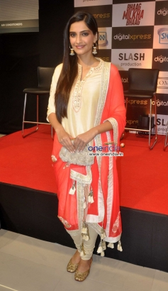 Sonam Kapoor poses at the DVD launch of film Bhaag Milkha Bhaag