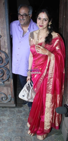Sridevi along with her husband Boney Kapoor arrive at Anil Kapoor's Karva Chauth party