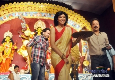 Actress Sushmita Sen at Durga Pooja celebration 2013