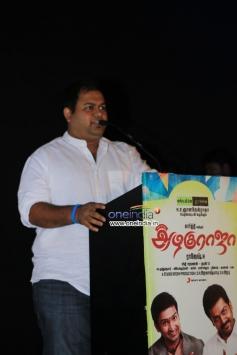 Thaman addressing media during the All in All Azhagu Raja Audio Launch