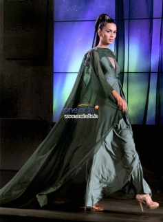 A model displays a new design during Blenders Pride Fashion Tour 2013