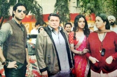 Abhishek Bachchan, Asin, Rishi Kapoor and Smriti Irani on the sets of film Mere Apne