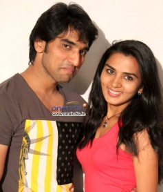 Anees Tejeswar and Sindhu Lokanath at Coffee with my Wife Film Press Meet