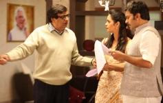 Bokadia, Mallika Sherawat and Ashutosh Rana on the sets of Dirty Politics