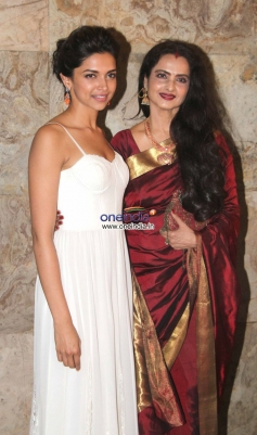 Deepika Padukone along with Rekha poses at Special screening of film Ram Leela