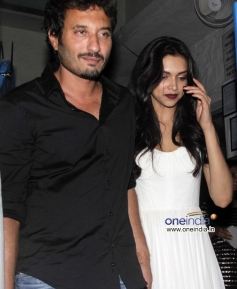 Homi Adajania and Deepika Padukone at the Finding Fanny Fernandez completion party