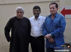 Javed Akhtar and Salim Khan poses at Sholay 3D film trailer launch
