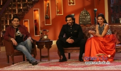 Kapil Sharma with Ranveer Singh and Deepika Padukone on the sets of Comedy Nights with Kapil tv show