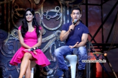 Katrina Kaif and Aamir Khan addressing media during the Dhoom 3 title song launch