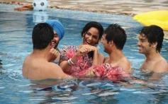 Mallika Sherawat Romantic Moment in Swimming Pool