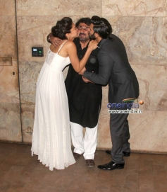 Ranveer and Deepika kisses Sanjay Leela Bhansali at Special screening of film Ram Leela