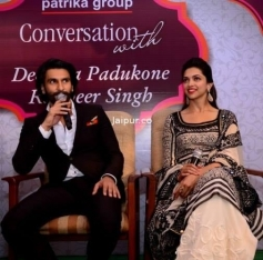 Ranveer Singh addressing media during the Ram Leela film promotion