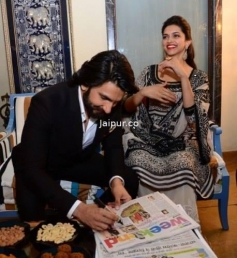 Ranveer Singh and Deepika Padukone at Jaipur for Ram Leela film promotion
