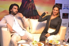 Ranveer Singh and Deepika Padukone during the press conference of Ram Leela film at Delhi