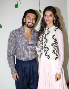 Ranveer Singh and Deepika Padukone during Ram Leela film promotion at Radio City