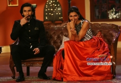 Ranveer Singh and Deepika Padukone on the sets of the comedy tv show Comedy Nights with Kapil