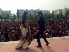 Ranveer Singh and Deepika Padukone performs during the Ram Leela film promotion at Delhi