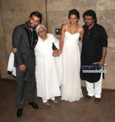 Ranveer Singh, Deepika Padukone and Sanjay Leela Bhansali at Special screening of film Ram Leela