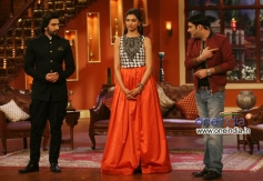 Ranveer Singh and Deepika Padukone with Kapil Sharma during Ram Leela film promotion
