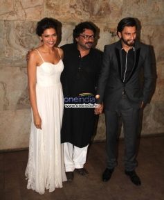 Sanjay Leela Bhansali with Raneer and Deepika at Special screening of film Ram Leela
