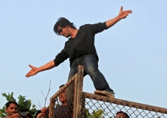 Shahrukh Khan waves to his fans on his birthday in Mumbai
