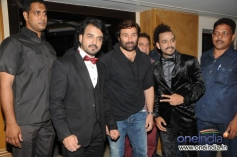 Sharib and Toshi with Sunny Deol during the French Kiss music album