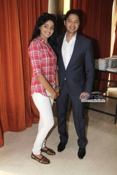Shreyas Talpade with Pooja Sawant at launch of his second home production