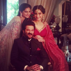 Sonam Kapoor with her father Anil Kapoor and sister Rhea Kapoor on Diwali