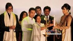 West Bengal Chief Minister Mamata Banerjee with actors Amitabh Bachchan, Kamal Hasan and Shahrukh Kh