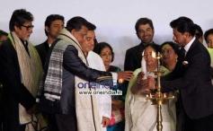 West Bengal Chief Minister Mamata Banerjee with actors Amitabh Bachchan, Mithun Chakarvarti, Kamal H