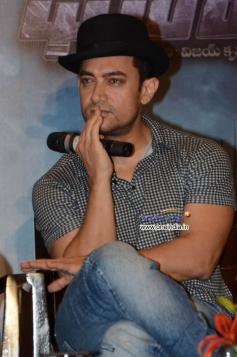 Aamir Khan during the Dhoom 3 film promotion at Hyderabad