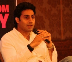Abhishek Bachchan addressing media during the Dhoom 3 film promotion at Chennai