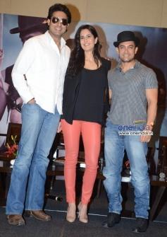 Abhishek Bachchan, Katrina Kaif and Aamir Khan during the Dhoom 3 film promotion at Hyderabad