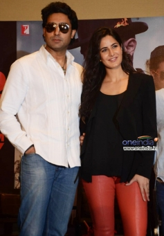 Abhishek Bachchan with Katrina Kaif during the Dhoom 3 film promotion at Hyderabad