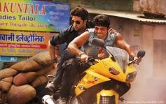 Abhishek and Uday Chopra bike stunt still from film Dhoom 3