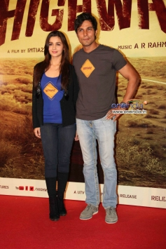 Alia Bhatt along with her co-star Randeep at trailer launch of film Highway