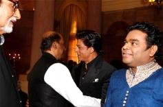 Amitabh Bachchan, Rajinikanth, SRK and Rahman at the Rashtrapati Bhavan Auditorium