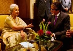 Amitabh Bachchan and Waheeda Rahman during the NDTV Solution Summit 2013