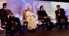 Amitabh Banchchan, Waheeda Rahman, AR Rahman and SRK during the NDTV Solution Summit 2013