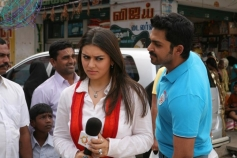 Hansika Motwani and Karthi still from film Biriyani