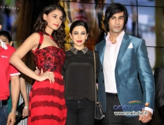 Karisma Kapoor poses with Hasleen and Shiv Darshan during the music launch of film Karle Pyaar Karle