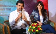 Karthi addressing media during the Biryani film press meet at Cochin