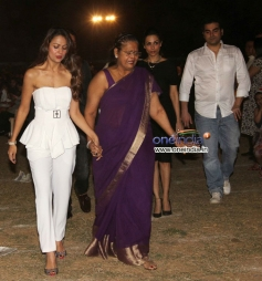 Malaika Arora Khan with her sister Amrita Arora snapped during the Christmas celebrations