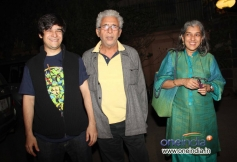 Naseeruddin Shah with his family arrives at the special screening of film The Wolf of Wall Street