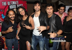 Poonam Pandey poses with the film What The Fish starcast