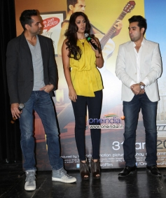 Preeti Desai addressing media at the trailer launch of film One By Two