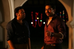 Premji Amaran and Karthi still from film Biriyani