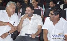 Radha Ravi, P Vasu and Bharathiraja at Saravana Poigai movie audio launch