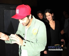 Ranbir Kapoor along with Katrina Kaif at the special screening of film The Wolf of Wall Street