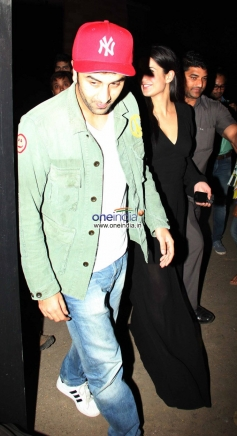 Ranbir Kapoor and Katrina Kaif walked in together for the screening The Wolf of Wall Street